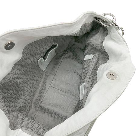 Dior(크리스챤디올) 은장 이니셜 장식 까나쥬 체인 레더 호보 숄더백