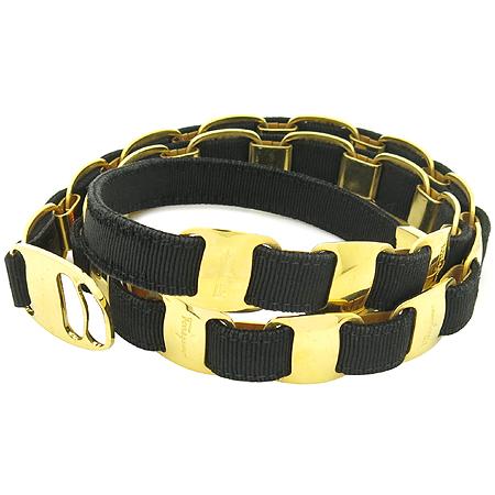 Ferragamo(페라가모) 블랙 패브릭 금장 로고 여성용 벨트