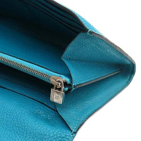 Hermes(에르메스) 은장 블루 레더 켈리 장지갑 [압구정매장]