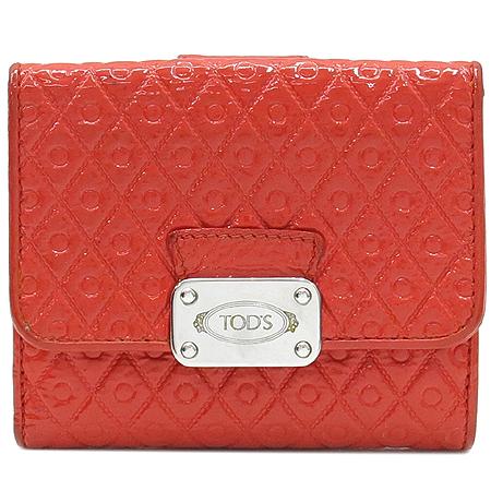 Tod's(토즈) 은장로고 장식 오렌지 컬러 페이던트 반지갑