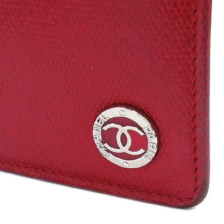 Chanel(샤넬) 은장 COCO로고 장식 레드 레더 장지갑 [명동매장]