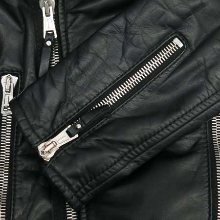 Balenciaga(발렌시아가) 블랙 램스킨 은장 지퍼 남성 라이더 자켓