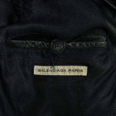 Balenciaga(발렌시아가) 블랙 램스킨 은장 지퍼 남성 라이더 자켓 이미지5 - 고이비토 중고명품