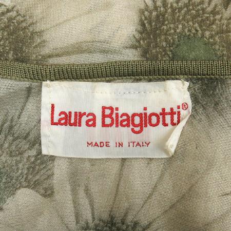 LAURA Biagiotti(라우라 비아조티) 카키컬러 플라워 실크 롱 나시