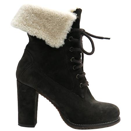 MONCLER(몽클레르) 브라운 컬러 스웨이드 양털 여성용 부츠