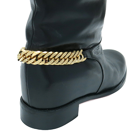 Christian Louboutin(크리스찬 루부탱) 금장 체인 블랙 레더 여성용 롱 부츠 이미지5 - 고이비토 중고명품