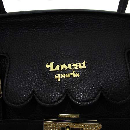 LOVCAT(러브캣) LDSHB235BLFF 금장 로고장식 블랙 레더 숄더백