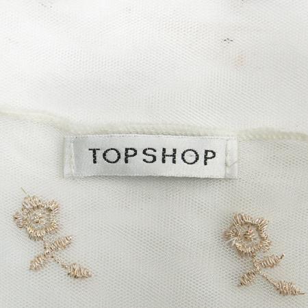 TOP SHOP(탑샵) 화이트컬러 플라워 금장자수 시스루 나시
