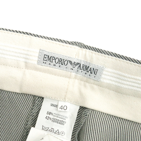 Emporio Armani(엠포리오 아르마니) 블랙&아이보리컬러 사선 스트라이프 바지
