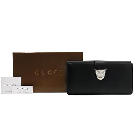 Gucci(구찌) 231837 이니셜 실버 메탈 버클 블랙 레더 장지갑