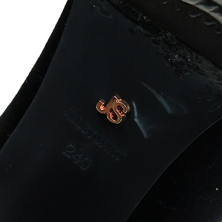 Jill Stuart(질스튜어트) 블랙 레더 스웨이드 혼방 벨트 장식 여성용 앵글 부츠