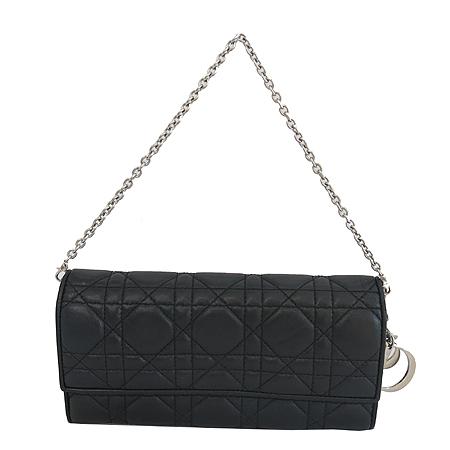Dior(크리스챤디올) 블랙 까나쥬 퀼팅 장지갑 + 토트 체인
