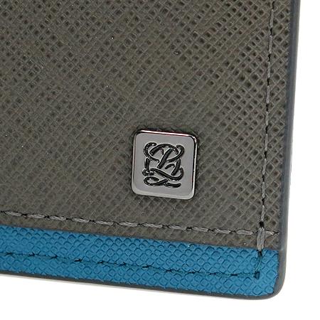 Louis_Quatorze(루이까또즈) LLSH3AH02MF5GA 사피아노 그레이 혼합 블루 6크레딧카드 은장로고 반지갑