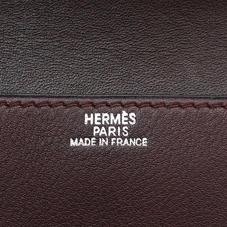 Hermes(에르메스) 실버 메탈 라운드 로고 버클 도곤 카드겸 명함지갑