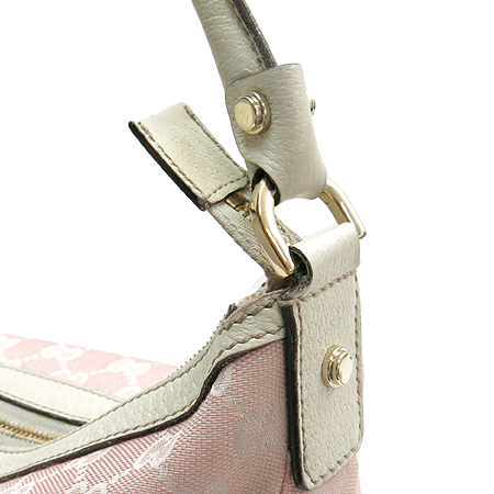 Gucci(구찌) 153025 GG로고 자가드 핑크 아이보리레더 혼방 투 포켓 숄더백