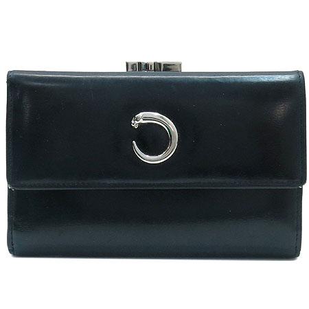 Cartier(까르띠에) L3000474 펜더 블랙레더 은장로고 중지갑