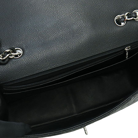 Chanel(샤넬) A28600Y01588 캐비어 스킨 블랙 클래식 점보 L사이즈 은장로고 체인 숄더백[부천 현대점]