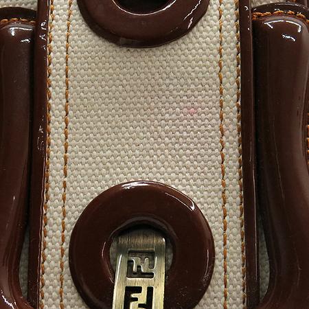Fendi(펜디) 8BN165 B FENDI 패브릭 브라운 애나멜 혼방 체인 토트백