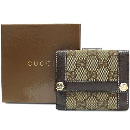 Gucci(구찌) 154119 GG 로고 자가드 브라운 레더 반지갑