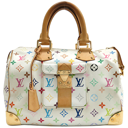 Louis Vuitton(루이비통) M92643 모노그램 멀티 컬러 화이트 스피디 30 토트백[인천점]