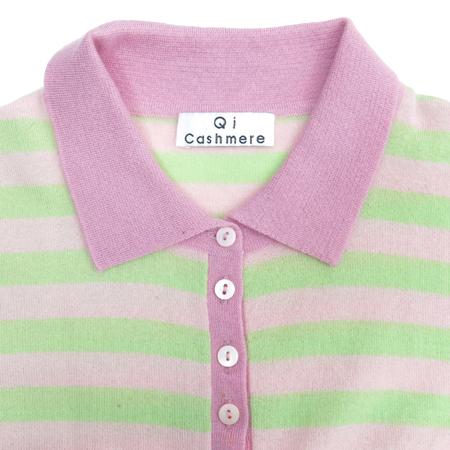 QI CASHMERE(큐아이 캐시미어) 캐시미어 핑크&그린컬러 스트라이프 반팔 카라티 이미지2 - 고이비토 중고명품