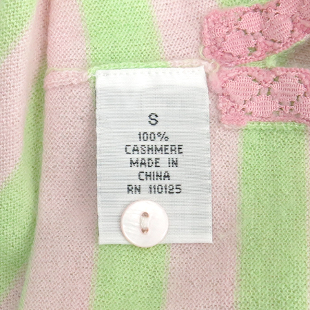 QI CASHMERE(큐아이 캐시미어) 캐시미어 핑크&그린컬러 스트라이프 반팔 카라티 이미지4 - 고이비토 중고명품