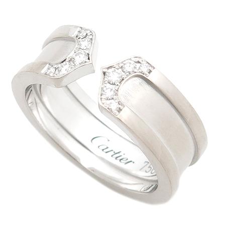Cartier(까르띠에) B4044200 18K 화이트 골드 더블 C 링 다이아 웨딩밴드 반지 [부산센텀본점]