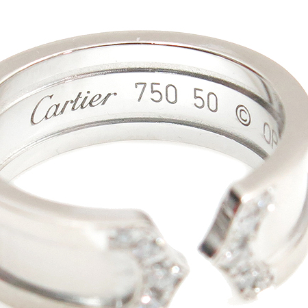 Cartier(까르띠에) B4044200 18K 화이트 골드 더블 C 링 다이아 웨딩밴드 반지 [부산본점]