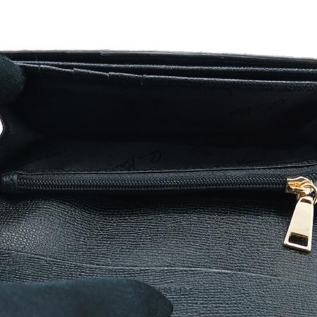 ANNE KLEIN(앤클라인) 파이손 패턴 블랙 레더 여성용 중지갑