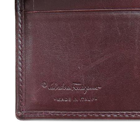 Ferragamo(페라가모) 66 8670 실버 메탈 간치노 로고 버건디 레더 6크레딧카드 반지갑