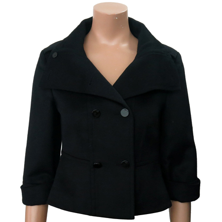 Armani Exchange(아르마니 익스체인지) 블랙 컬러 캐시미어 혼방 크롭 자켓