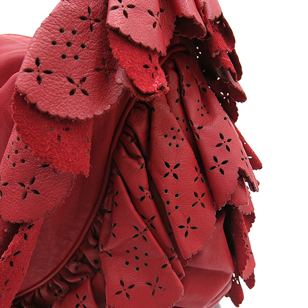 Dior(크리스챤디올) 레드 레더 레이스 장식 숄더백
