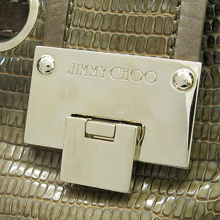 JIMMY CHOO(지미추) 브라운 파이톤 패턴 레더 금장 장식 숄더백