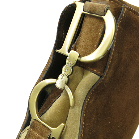 Dior(크리스챤디올) 브라운 송치 스웨이드 혼방 새들 크로스백