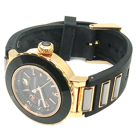 Swarovski(스와로브스키) 1090346 OCTEA SPORT(옥테아 스포트) 크리스탈 로즈골드 블랙 러버밴드 남여공용 시계