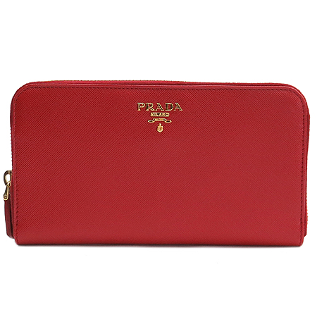 Prada(프라다) 1M0506 금장 로고 장식 사피아노 짚업 장지갑 [압구정매장]