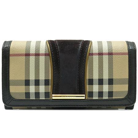 Burberry(버버리) 노바체크 스웨이드 금장 로고 장식 장지갑
