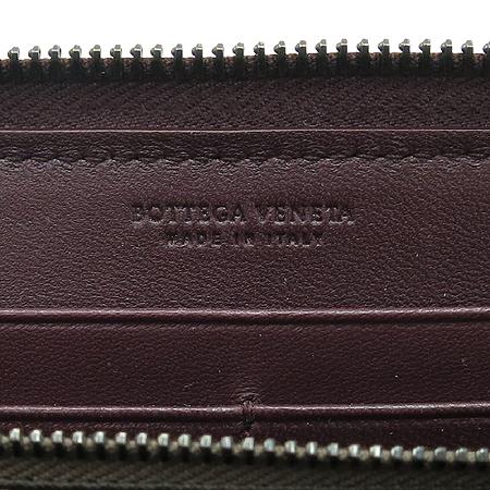 BOTTEGAVENETA (보테가 베네타) 114076 Maroon 컬러 레더 인트레치아토 짚업 장지갑[부천 현대점]