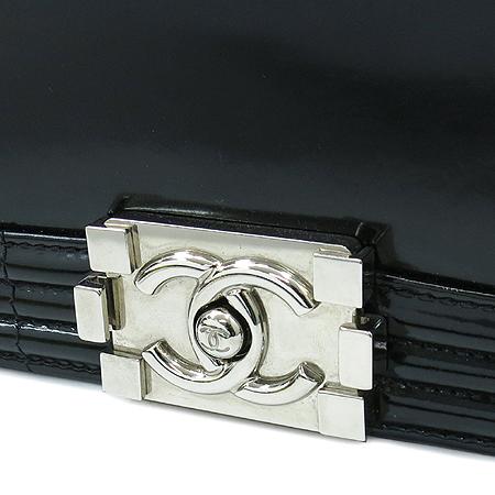 Chanel(샤넬) A67084 봄베이 컬렉션 보이 샤넬 L 사이즈 블랙 레더 실버 메탈 체인 숄더백