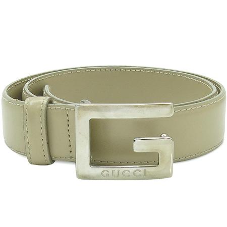 Gucci(구찌) 037 2092 0959 실버 메탈 G 로고 베이지 레더 여성 벨트