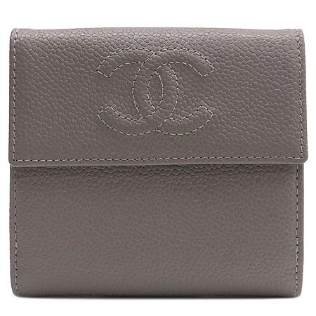 Chanel(샤넬) A48650 COCO로고 캐비어스킨 반지갑 [압구정매장]