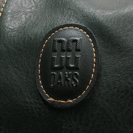 DAKS(닥스) 그린레더 체크 PVC 혼방 짚업 빅 보스톤 여행용 가방 토트백