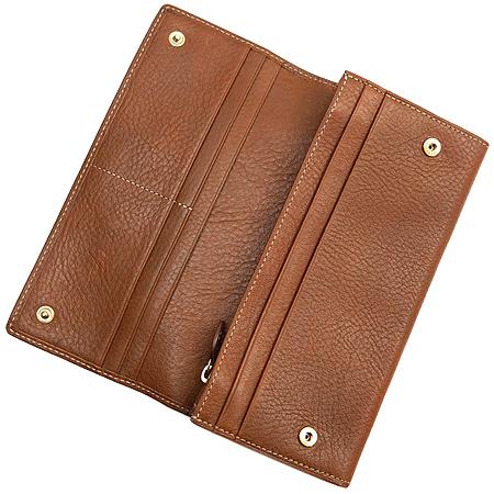 MULBERRY(멀버리) RL8541 실버메탈 로고 브라운 레더 장지갑