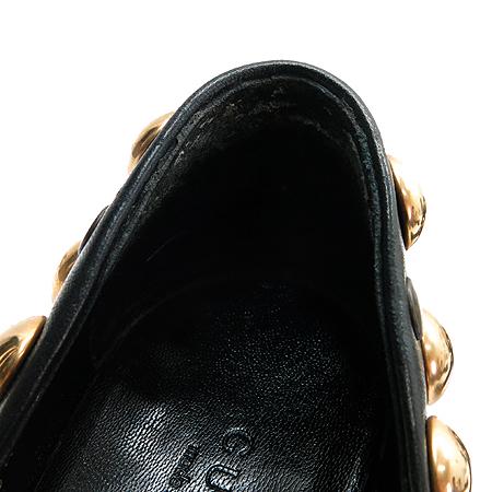 Gucci(구찌) 208409 블랙레더 금장 징장식 펌프스 여성용구두