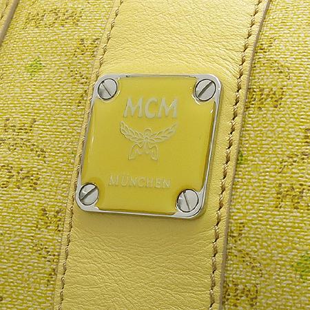 MCM(엠씨엠) 옐로우 비세토스 레더 트리밍 PVC 보스톤 토트백