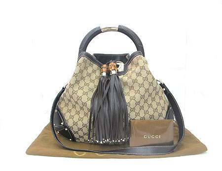 Gucci(구찌) 185566 GG 로고 자가드 뱀부 장식 인디 토트백+숄더스트랩 [부산센텀본점]