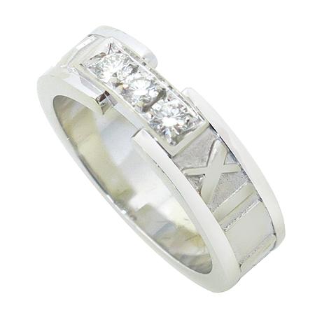 Tiffany(티파니) 18K 화이트 골드 아틀라스 3포인트 반지