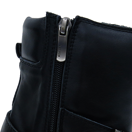 suecomma bonnie(슈콤마보니) 블랙 레더 벨트 장식 여성용 부츠