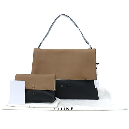 Celine(셀린느) 172183 PIA 올 소프트 브라운 베이지 배색 블랙 로고 프린팅 숄더백 + 보조파우치 [동대문점]