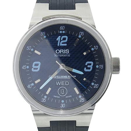 ORIS(오리스) 635 7560 WILLIAMS F1 TEAM (윌리암스 F1 팀) 데이 데이트 러버밴드 시스루백 케이스 오토매틱 남성용 시계